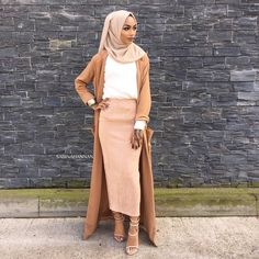 Hijab - use discount code Top - Skirt + heels - Duster coat - Islamic Fashion, Muslim Fashion, Modest Fashion, Hijab Fashion, Fashion Outfits, Fashion Trends, Fashion Socks, Fashion Games, Modest Wear