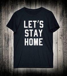 Let's Stay Home Comfortable Soft Slogan Tee Lazy Nap Sleeping Shirt Casual T-shirt