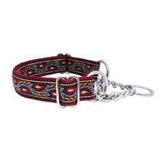 QuiDo Petz Handmade Half Check Dog Collar Burgundy Leaves Adult £17.99