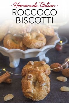 These Traditional Christmas Cookies from Naples, Roccoco Biscotti are the perfect dunking cookie. A fast and easy cookie recipe that is full of almonds and so tasty. Serve with a glass of wine, Spumonte or even a cup of tea or an espresso! #roccoco #biscotti #Italiancookie #cookie #Italianrecipe #Christmascookie