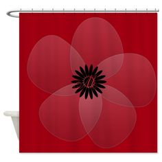 Custom Bright Red Sheer Flower Shower Curtain, editable monogram, personalized #bright #red #shower #curtain