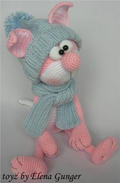 Розовый котик вязаный крючком