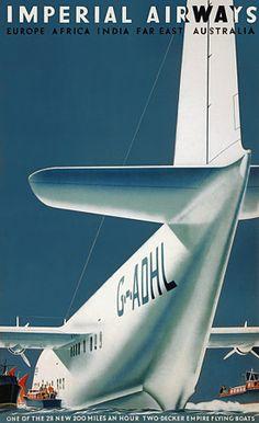 Imperial Airways Australia Flying Boats Aeroplanes Vintage Aviation Posters Prints - From Vintage Venus Australia.