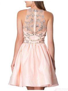 High Neck Beading Bodice Satin Short  Mini Homecoming Cocktail Dress #homecomingdresses