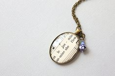French sheet music necklace made with vintage sheet by GildedNotes, $42.00