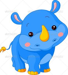 Illustration about Fun zoo. Illustration of cute Rhino. Illustration of rhino, offspring, cartoon - 22948951 Jungle Animals, Baby Animals, Cute Cartoon Animals, Cute Animals, Rhino Animal, Baby Rhino, Cute Hippo, Canson, Cute Clipart