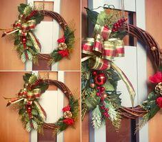 #クリスマスリース #100均 #ダイソー #ハンドメイド #造花 #インテリア おはようございます。 玄関に飾りました。 うん、いいね〜。 自己満足中…。(笑)