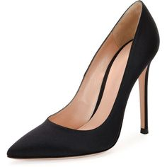 Gianvito Rossi Gianvito Silk 105mm Pump (11.510 ARS) ❤ liked on Polyvore featuring shoes, pumps, heels, black, обувь, shoes pumps, heel pump, slip on shoes, gianvito rossi pumps and low pumps