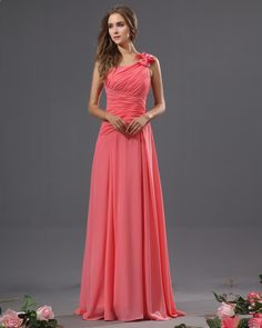 Bowtie Chiffon One Shoulder Floor Length Bridesmaid Dress - Dress for Mom