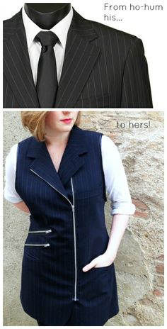 Men's suit jacket gets a hot makeover - #upcycle a plain suit coat into a fun, funky mini dress!