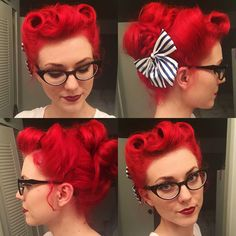 My hair for swing last night. Three victory rolls, and all the rest I pinned up any which way to get it off my neck.