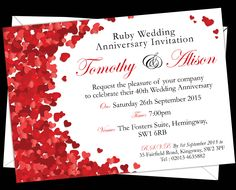 Personalised Ruby Wedding Anniversary Invitations. Prices start from £7.50. Free envelopes and delivery (UK only).