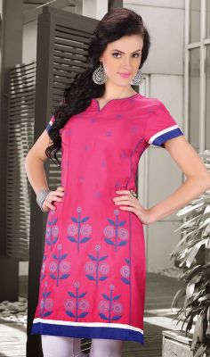 Pink Cotton Silk Embroidered Kurti #Designer-Kurtis-Online? #Designer-Kurtis Price: British UK Pound £43, Euro52, Canada CA$78 ,Indian Rs.3888