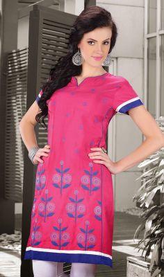 Pink Cotton Silk Embroidered Kurti #Designer-Kurtis-Online? #Designer-Kurtis Price: British UK Pound £43, Euro52, Canada CA$78 ,Indian Rs.3888