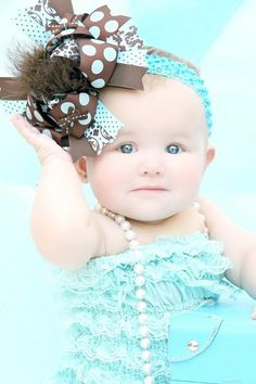 Brown and Turquoise Over The Top Boutique Hair Bow