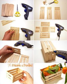 35 Creative Popsicle Stick Crafts DIY Mini Pallet Crate Made Out Of Popsicle Sticks. Popsicle Crafts, Craft Stick Crafts, Popsicle Stick Diy, Mini Craft, Wood Sticks Crafts, Pop Stick Craft, Craft Stick Projects, Glue Gun Projects, Glue Gun Crafts