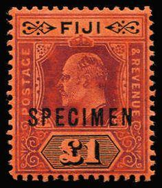 FIJI 1906-12 KEVII Wmk Multi Crown/CA New Colours 1d, 2½d, 6d, 5/- & £1 optd 'SPECIMEN' SG #119s-24s, fine & fresh, Cat £300+. (5)  Anbieter Phoenix Auctions  Saalauktion Ausruf: 230.00AUD