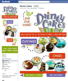 Dainty Cakes Custom Facebook Page - Designed by The Marketing Twins Facebook Search, Facebook Fan Page, Friend Activities, The Marketing, Page Design, Cupcake Cakes, Create Yourself, Twins, Gemini