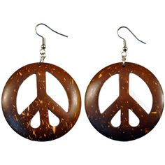 Peace Coconut Shell Earrings Brown on Sale for $6.99 at The Hippie... ($6.95) ❤ liked on Polyvore featuring jewelry, earrings, accessories, peace, hippie earrings, sea shell earrings, sea shell jewellery, peace symbol earrings and dome earrings
