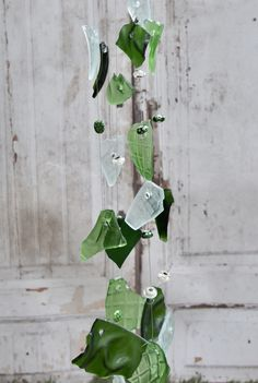 Glass wind chimes in green and forest green memorial windchimes, Christmas gifts for mom dad, outdoor garden rustic yard art, hanging mobile