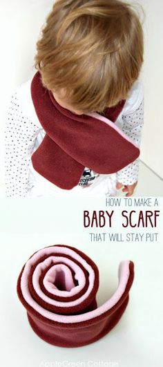 How to make a baby scarf that will stay put. This beginner sewing project makes a great diy gift for babies and older kids. Let your kids stay warm wearing these stay-put fleece scarves. Take a look! #freepattern #scarf #diy #sewing #accessories #tutorial #sewingforbeginners #easy #easysewingprojects #beginner #sewingtutorial #baby #toddler #kids #kidsfashion #fleece #winter