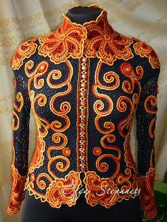 Авторский жакет «Хохлома»-3.   #irishlace #crochet #lace #knitting #cardigan #jacket #irishcrochet