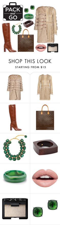 """""""Pack And Go: Winter Getaway"""" by takenuser ❤ liked on Polyvore featuring AINEA, Balmain, Tory Burch, Louis Vuitton, Dominique Denaive, Kenneth Jay Lane, Palm Beach Jewelry, Nevermind, NARS Cosmetics and Lauren Ralph Lauren"""