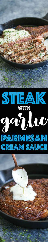 Steak with Garlic Parmesan Cream Sauce - Damn Delicious Easy Steak Recipes, Lamb Recipes, Meat Recipes, Cooking Recipes, Sauce Recipes, Drink Recipes, Yummy Recipes, Healthy Recipes, Gourmet
