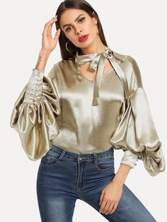 SHEIN Gold Office Lady Elegant Tie Neck Button Exaggerate Bishop Sleeve Solid Blouse 2018 Autumn Fashion Women Tops And Blouses Katharina Witt, Satin Bluse, Plain Tops, Satin Top, Bishop Sleeve, Fashion Outfits, Womens Fashion, Autumn Fashion, Steampunk Fashion