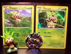 Pokemon CHESPIN XY01 Promo, Chespin 12/146 Rev Holo, Figure, Plastic Flip Coin