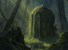 Ivy overgrown Elven Ruins and Tomb found by the heroes during the great Hunt: