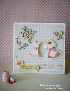 Adorable card with clothesline hanging from tree branches