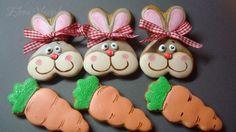 Cookies for Easter Galletas Cookies, Iced Cookies, Easter Cookies, Sugar Cookies, Royal Icing, Easter Bunny, Cookie Decorating, Gingerbread Cookies, Rabbit