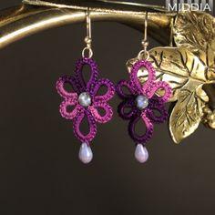 Frywolitka szydełkowa: Kolczyki fiolety - Earrings purples