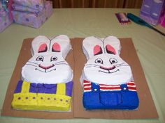 Max and Ruby - My daughter wanted a Max and Ruby party for her 2nd birthday. This is what my sister in law  and I came up with. We used Easter bunny pan and a 13x 9 cake pan to make each one.
