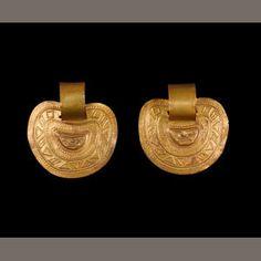 Pair of Inca Gold Earrings, ca. A.D. 1450-1532 diameters