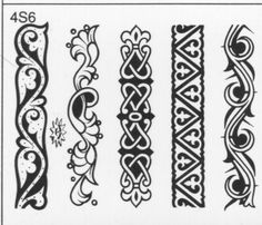 is it a shock to anyone that I like the one with the fleurs on the ends? Border Pattern, Border Design, Pattern Design, Celtic Patterns, Celtic Designs, Design Elements, Design Art, Leather Working Patterns, Border Embroidery Designs