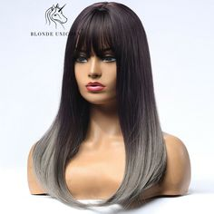 Long Straight Gray Blue Synthetic Wigs with Air Bangs for Women Cosplay Anime Grey Wig, Ash Grey, Gray, Wig Hairstyles, Straight Hairstyles, Beauty Hair Extensions, Wigs With Bangs, Wig Cap, Autumn Fashion Casual