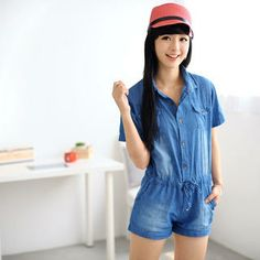 Short-Sleeved Denim Playsuit from #YesStyle <3 59 Seconds YesStyle.com.au