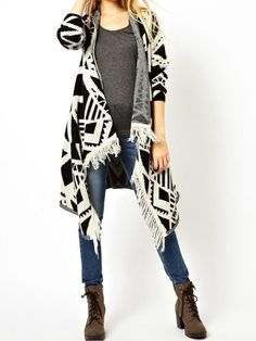 Beige Asymmetric Geometric Pattern Long Sleeve Cardigan | Choies