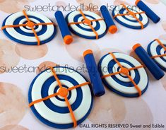Set of 12 TARGET and FOAM DART Fondant Cupcake Toppers by SWEETandEDIBLE on Etsy https://www.etsy.com/listing/557983053/set-of-12-target-and-foam-dart-fondant