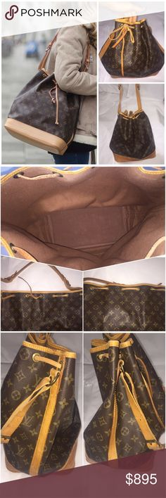 """Authentic Louis Vuitton Monogram Noe Brown and tan monogram coated canvas Louis Vuitton Noe with brass hardware, tan vachetta leather accents throughout, brown canvas interior and drawstring closure at top.  Make me an offer!  Condition: Very Good. Mark on base of bag - see photo 4. Interior is superb!  Measurements: Shoulder Strap Drop 11"""", Height 13.5"""", Width 10"""", Depth 7.5 Louis Vuitton Bags"""