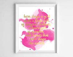 """""""Here sleeps a girl with a head full of magical dreams, a heart full of wonder, and hands that will shape the world."""" I adore this quote, and in pink watercolor with faux gold foil, it&…"""