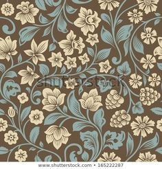 Find Vector Seamless Vintage Floral Pattern Stylized stock images in HD and millions of other royalty-free stock photos, illustrations and vectors in the Shutterstock collection. Line Art Flowers, Big Flowers, Flower Art, Floral Vintage, Vintage Prints, Vintage Floral Backgrounds, Floral Pattern Vector, Floral Motif, Pretty Backrounds