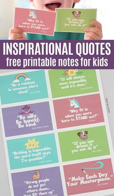 Free printable inspirational quote cards for kids! These adorable cards remind kids to be kind and never give up with quotes they will love. Perfect for lunchbox notes, random acts of kindness, or just because. #lunchboxlove #inspirationalquotes #freeprintables #printablesforkids