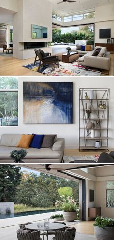 This modern family room has been designed for living the California lifestyle by blurring the lines between inside and out. Large glass pocketing doors open up the entire corner of the living room to the covered outdoor patio and pool beyond. New Modern House, Glass Pocket Doors, Tiered Seating, Modern Family Rooms, Villa Design, House Design, Modern Landscaping, California Homes, Lounge Areas