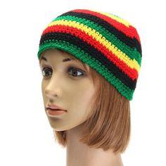 38859549828 Hot Sale Many Rasta Style Women Men Fashion Knitted Woolen Skull Baggy  Crochet Beanie Hat Striped