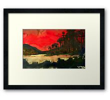 Pacific Sunset Framed Print.  A romantic, beautiful landscape created with watercolors and ink.  A great gift idea.