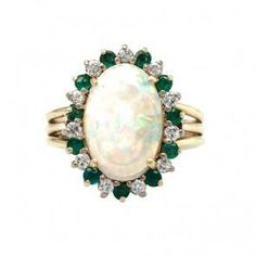 Vintage opal, emerald, and diamond cocktail ring from Trumpet & Horn