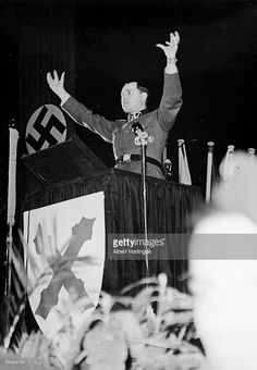 World War II. Speech of Léon Degrelle (1906-1994), leader of the rexist movement, main actor of the collaboration between Germany and Belgium, at the French Waffen-SS rally. Paris, Chaillot palace, March 1944.